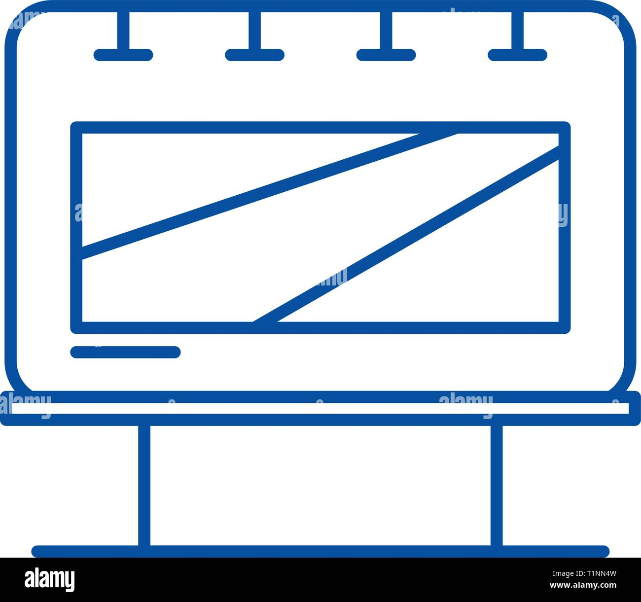 Outdoor advertising line icon concept. Outdoor advertising flat  vector symbol, sign, outline illustration. - Stock Vector