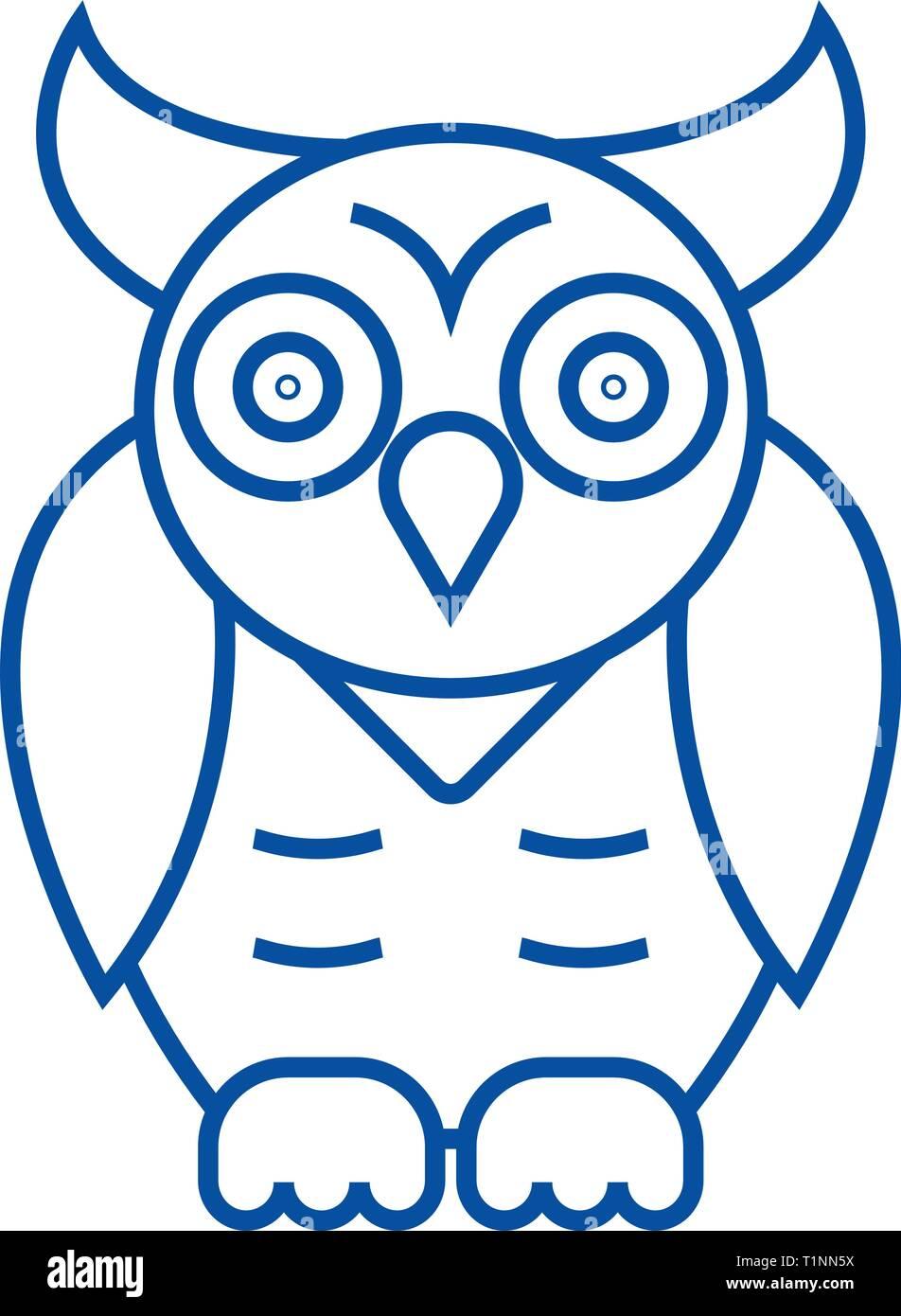 Owl,wisdom line icon concept. Owl,wisdom flat  vector symbol, sign, outline illustration. - Stock Vector