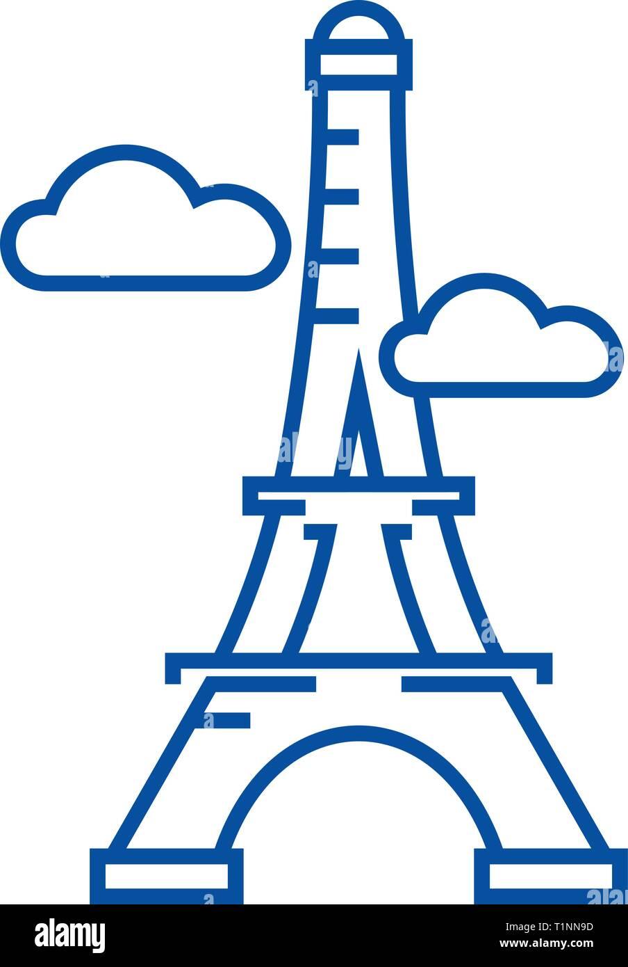 Paris,eiffel tower line icon concept. Paris,eiffel tower flat  vector symbol, sign, outline illustration. - Stock Vector