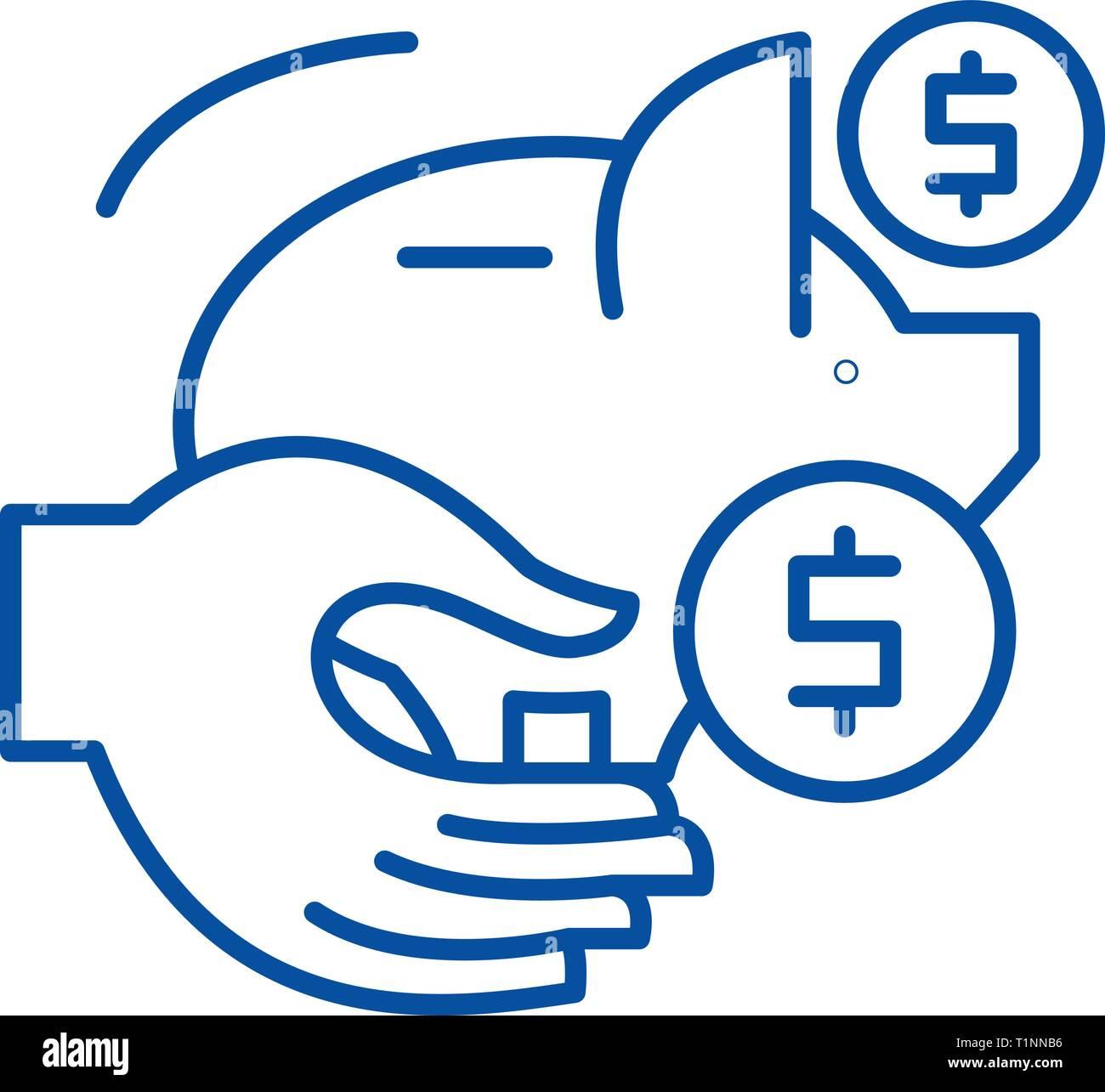 Passive savings line icon concept. Passive savings flat  vector symbol, sign, outline illustration. - Stock Image