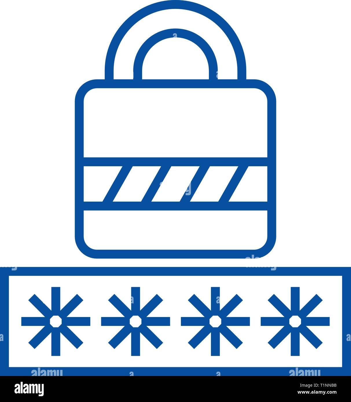 Password,login lock line icon concept. Password,login lock flat  vector symbol, sign, outline illustration. - Stock Vector