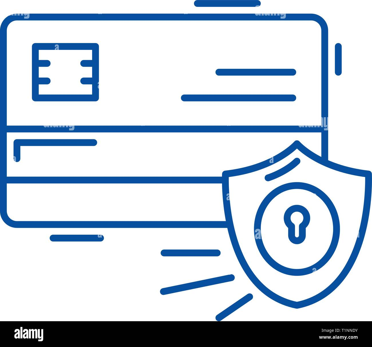 Payment security line icon concept. Payment security flat  vector symbol, sign, outline illustration. - Stock Image