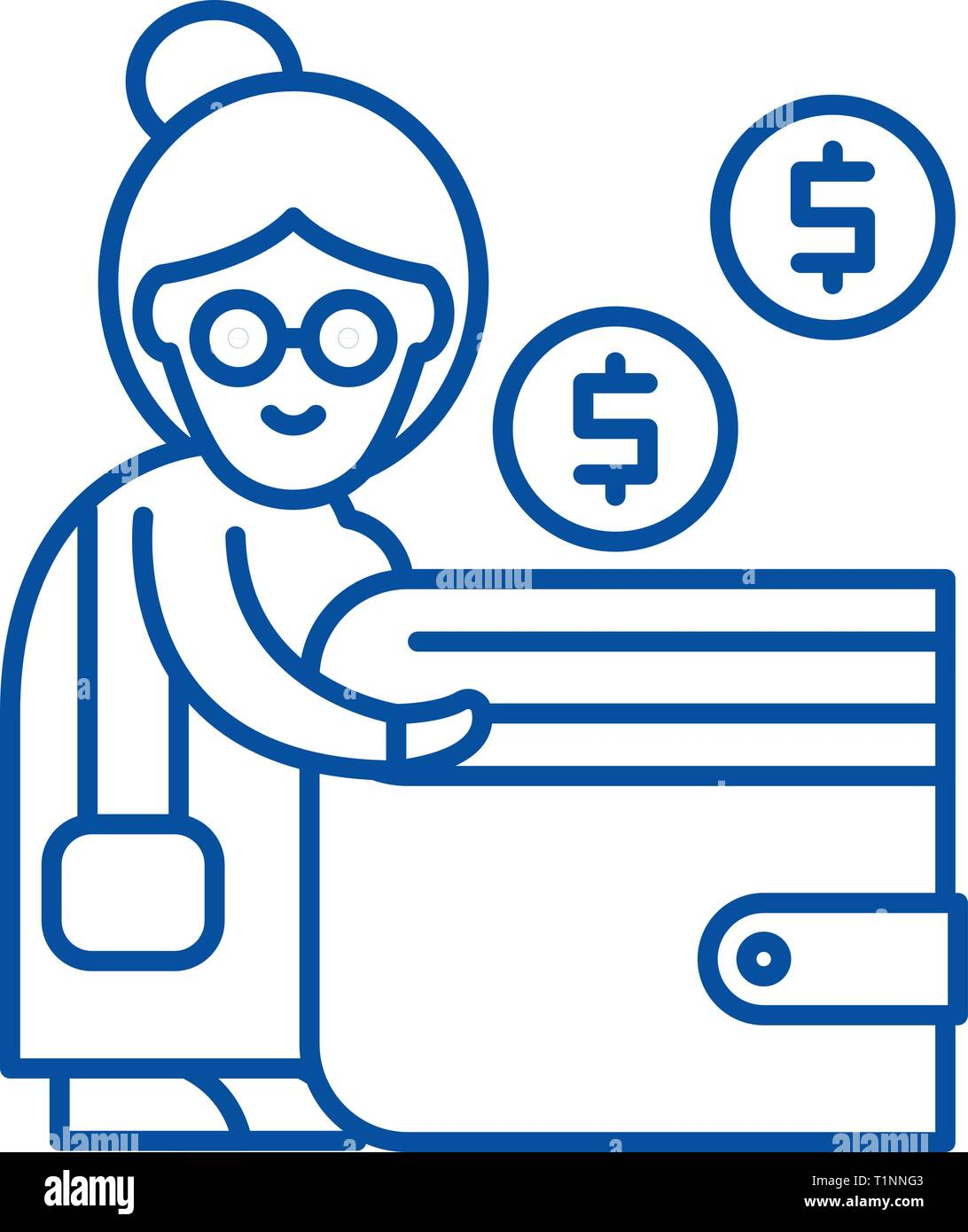 Pension contribution line icon concept. Pension contribution flat  vector symbol, sign, outline illustration. - Stock Image