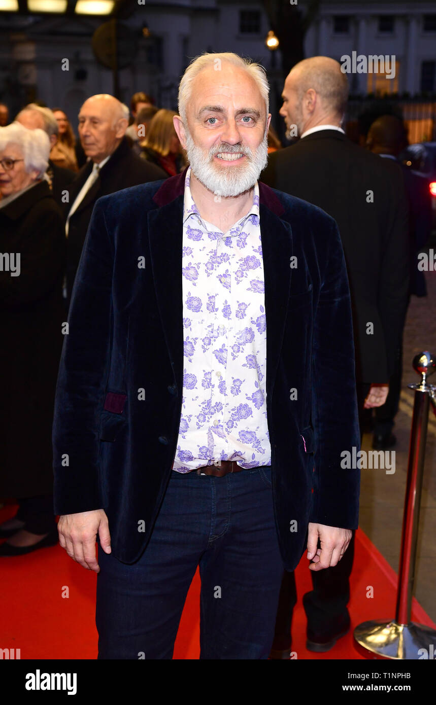 Dave Lamb arriving for the pre-premiere screening of Accidental Studio, the documentary telling the story of HandMade Films at Curzon Mayfair, London. - Stock Image