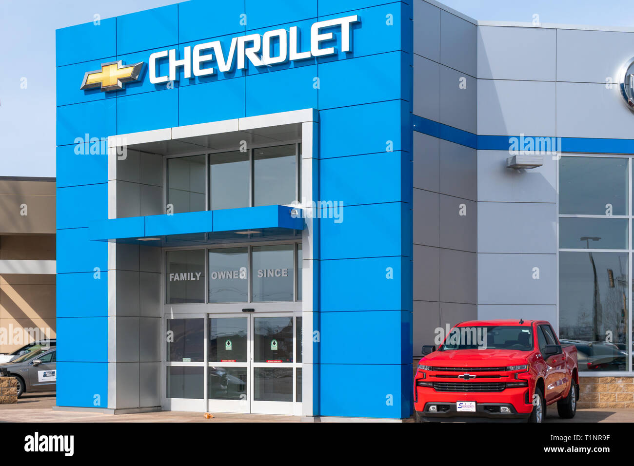 STILLWATER, MN/USA - MARCH 24, 2019: Chevrolet automobile dealership and trademark logo. - Stock Image