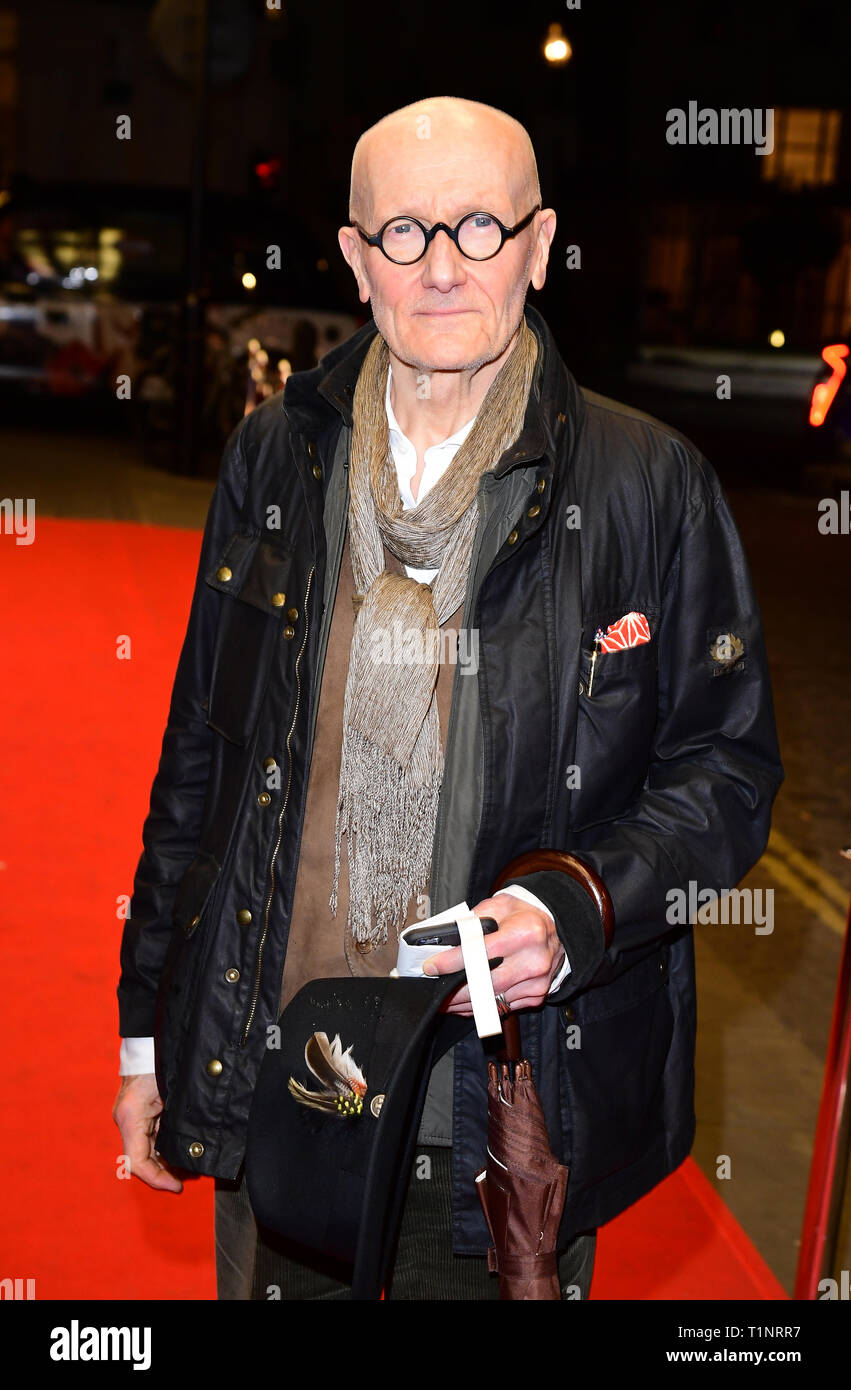 Ray Cooper arriving for the pre-premiere screening of Accidental Studio, the documentary telling the story of HandMade Films at Curzon Mayfair, London. - Stock Image
