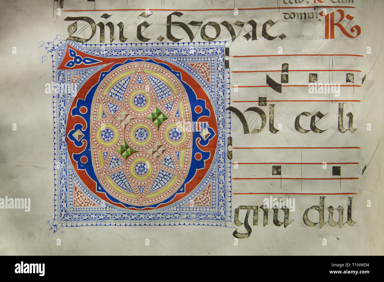 Illuminated initial by Florentine manuscript illuminators Zanobi Strozzi and Filippo di Matteo Torelli in the Antiphonary G dated from 1447 on display in the Monastery Library in the San Marco Museum (Museo Nazionale di San Marco) in Florence, Tuscany, Italy. - Stock Image