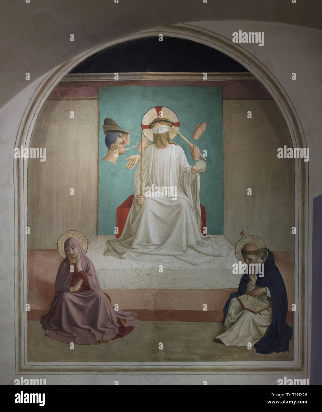 Fresco 'Mocking of Christ' by Italian Early Renaissance painter Fra Angelico (1440-1442) painted on the wall in the monk's cell at the San Marco Convent (Convento di San Marco), now the San Marco Museum (Museo Nazionale di San Marco) in Florence, Tuscany, Italy. - Stock Image