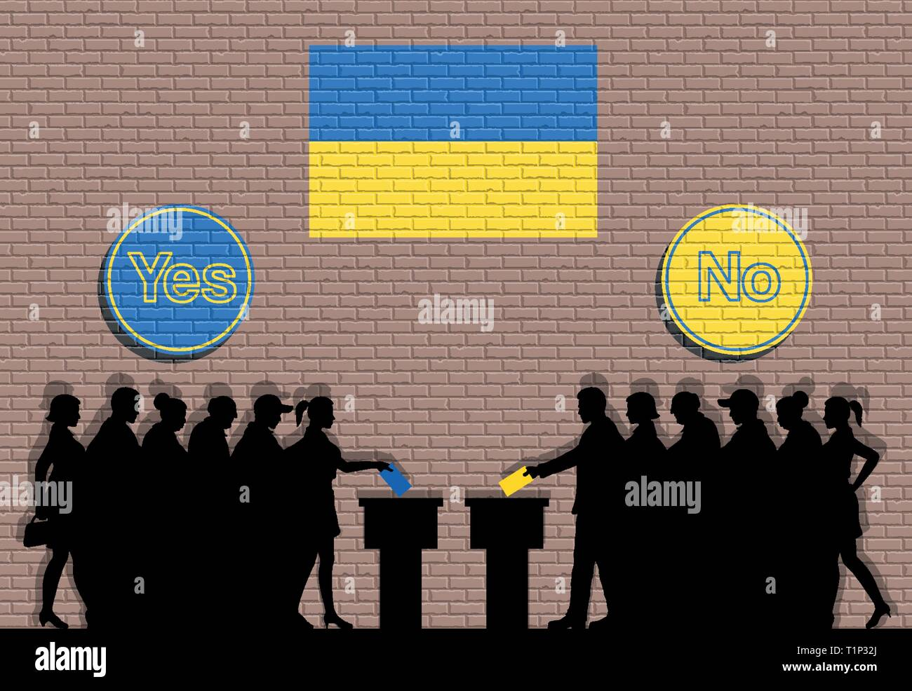 Ukrainian voters crowd silhouette in Ukraine election with yes and no signs graffiti. All the objects, and background are in different layers - Stock Vector