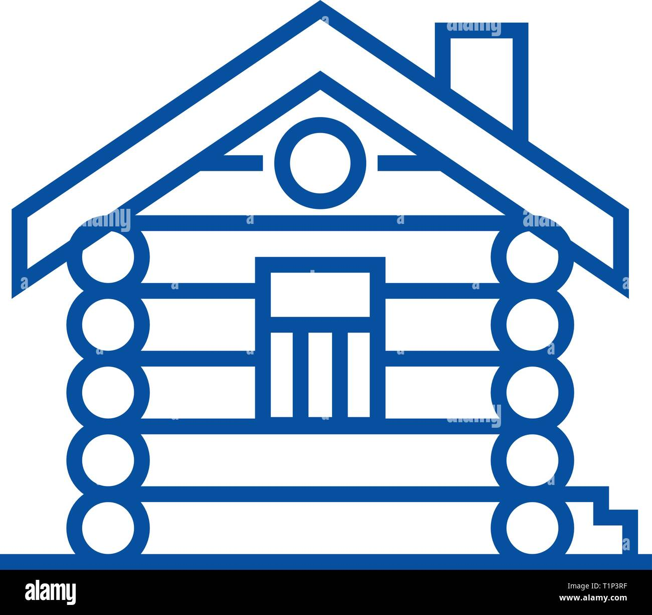 House,cabin,wood house line icon concept. House,cabin,wood house flat  vector symbol, sign, outline illustration. - Stock Vector