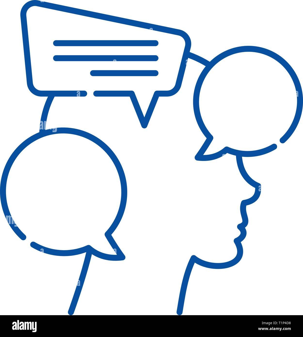 Internal dialogue line icon concept. Internal dialogue flat  vector symbol, sign, outline illustration. - Stock Vector