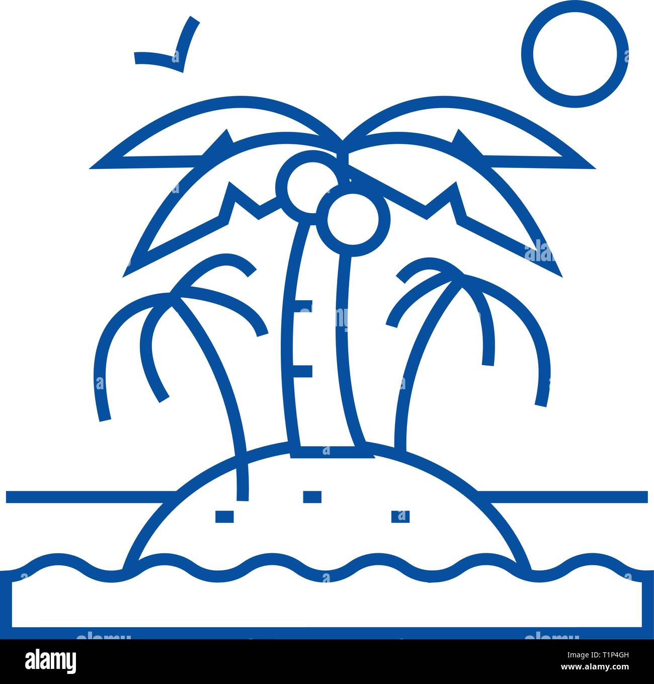 Island with palms line icon concept. Island with palms flat  vector symbol, sign, outline illustration. Stock Vector