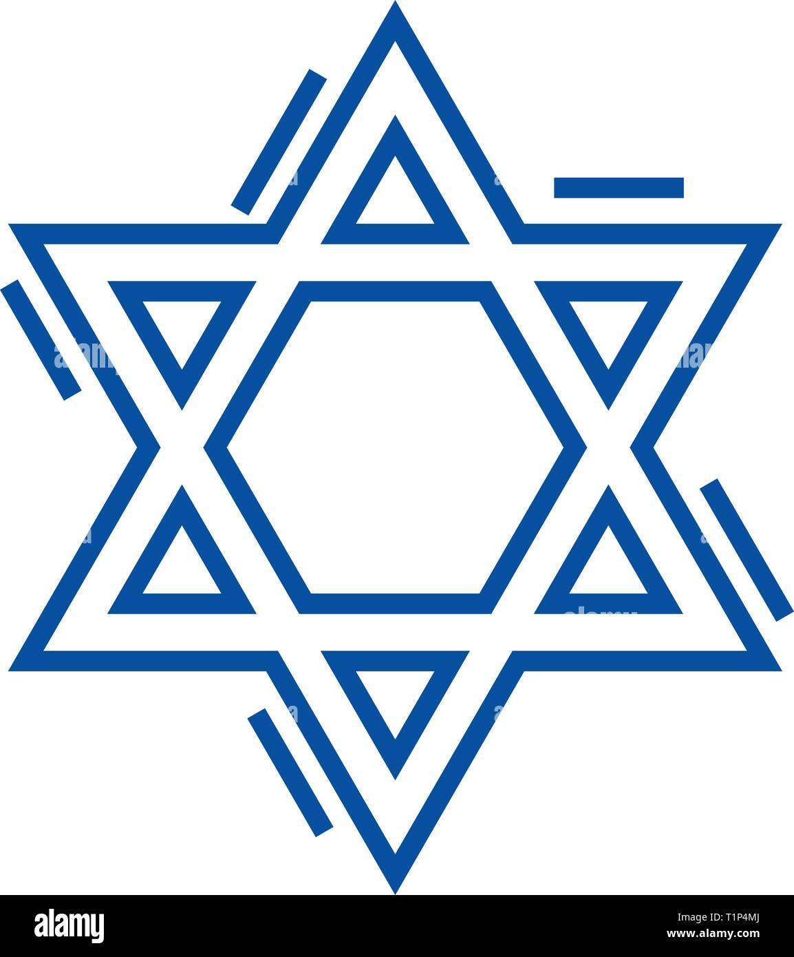 Jewish david star line icon concept. Jewish david star flat  vector symbol, sign, outline illustration. - Stock Image