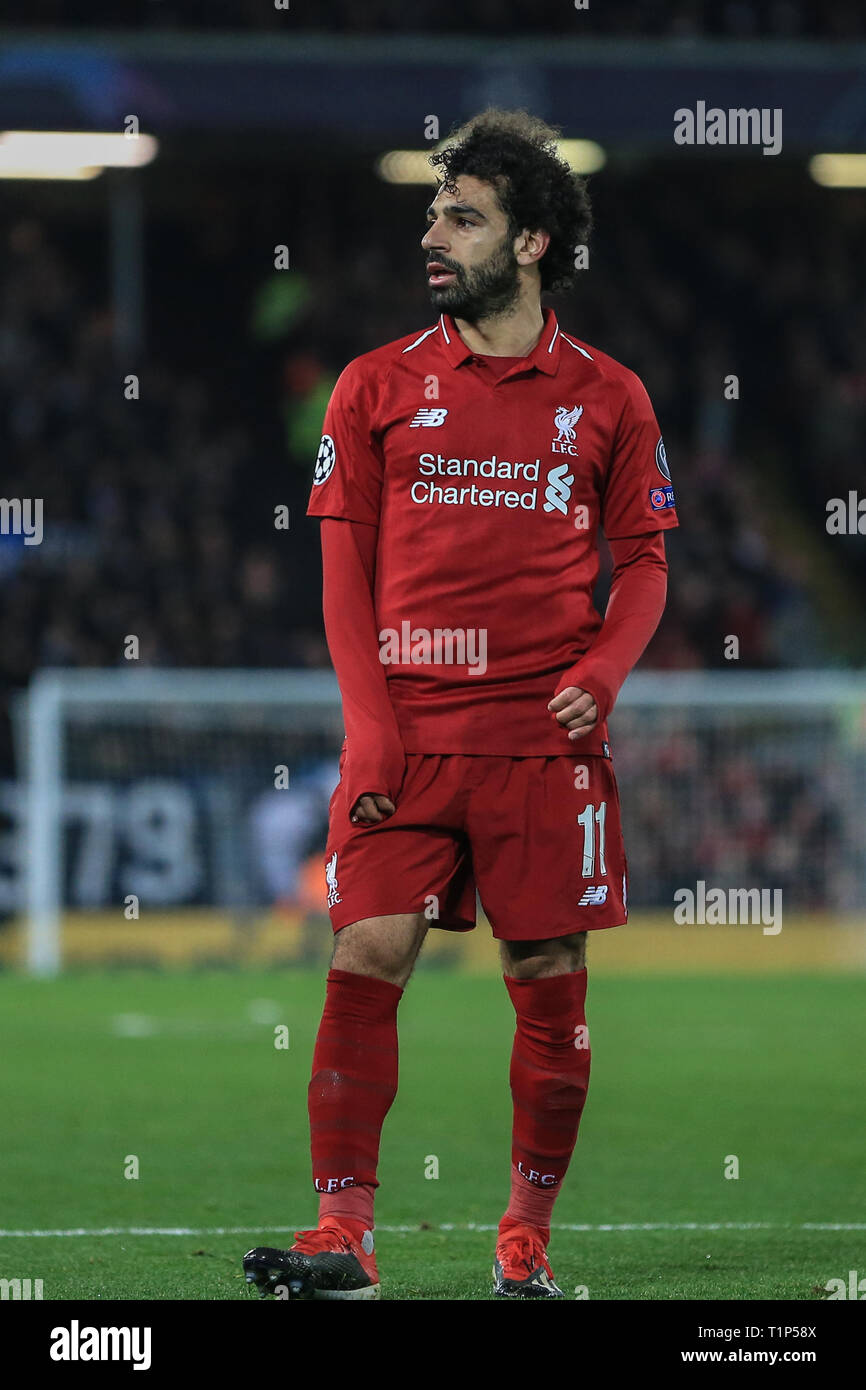 11th December 2018, Anfield, Liverpool, England; UEFA Champions League, Liverpool v Napoli ; Mohamed Salah (11) of Liverpool      Credit: Mark Cosgrove/News Images - Stock Image