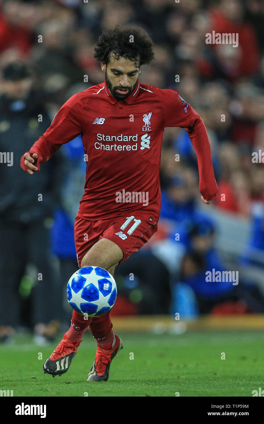 11th December 2018, Anfield, Liverpool, England; UEFA Champions League, Liverpool v Napoli ; ,Mohamed Salah with the ball      Credit: Mark Cosgrove/News Images - Stock Image