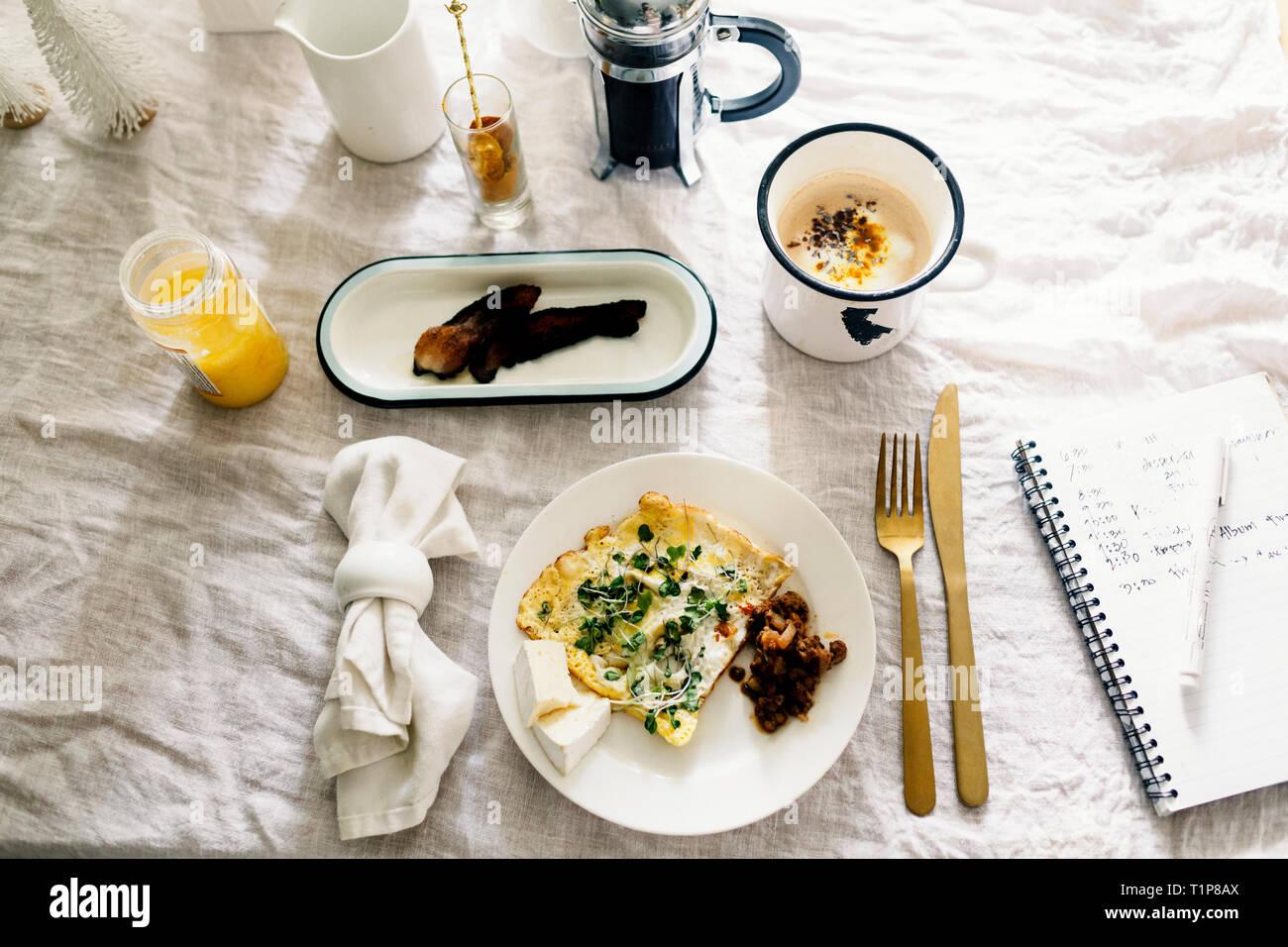 Overhead of breakfast - Stock Image