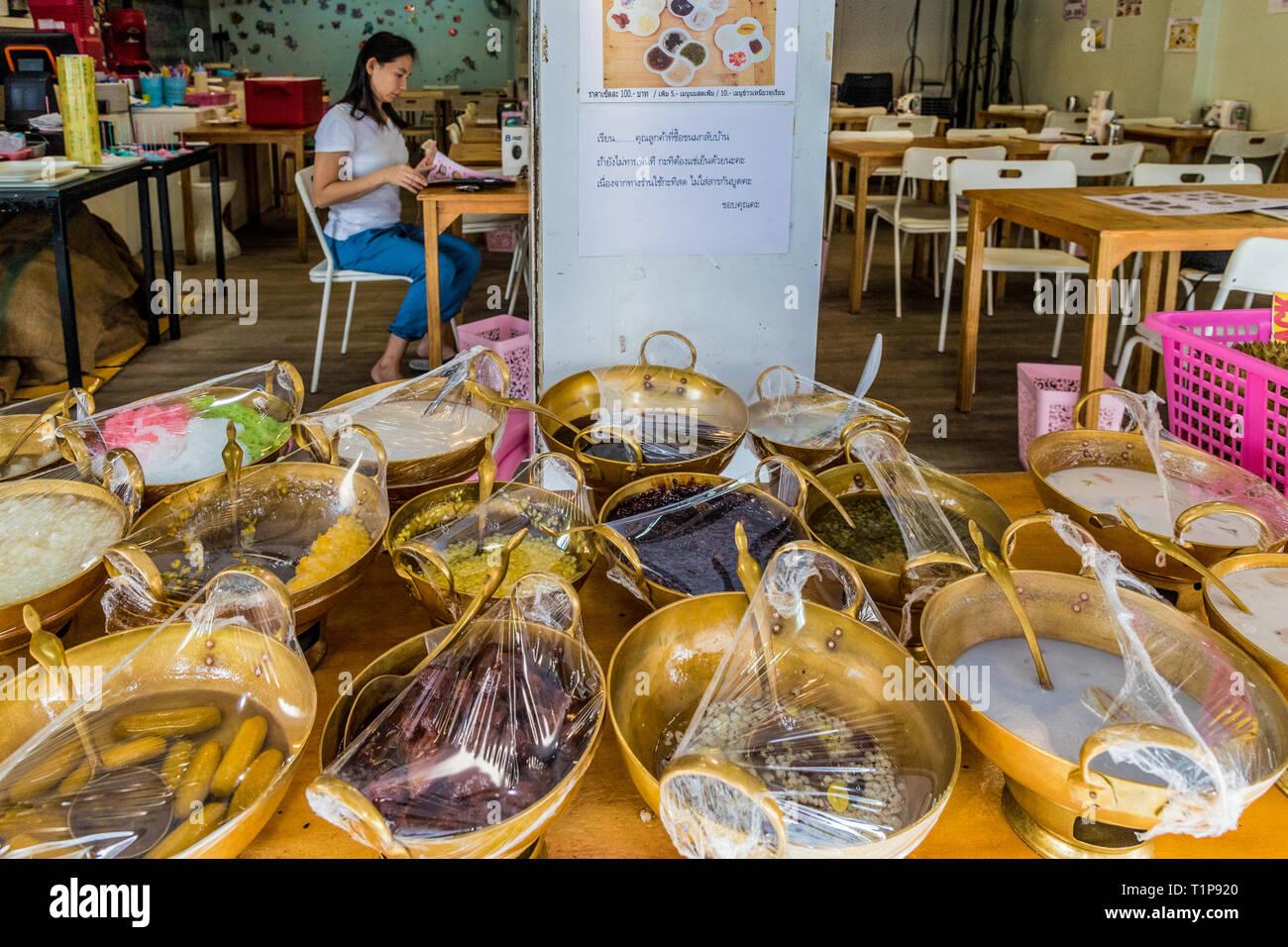 Thai deserts in Phuket Town in Thailand - Stock Image
