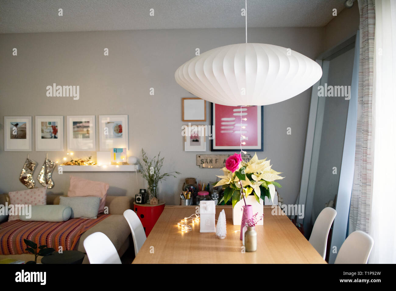Comfy apartment with holiday decoration - Stock Image