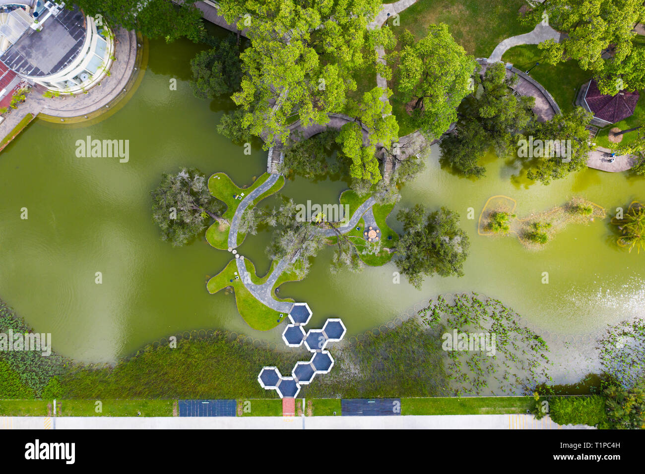 alternative perspective aerial view of Toa Payoh Town Park in Singapore. - Stock Image