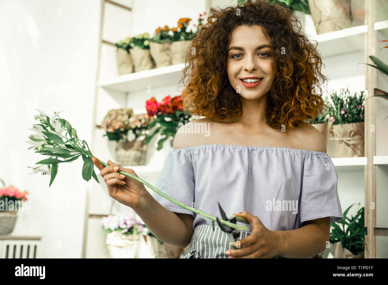 Young curly student enjoying her part-time job in flowershop - Stock Image