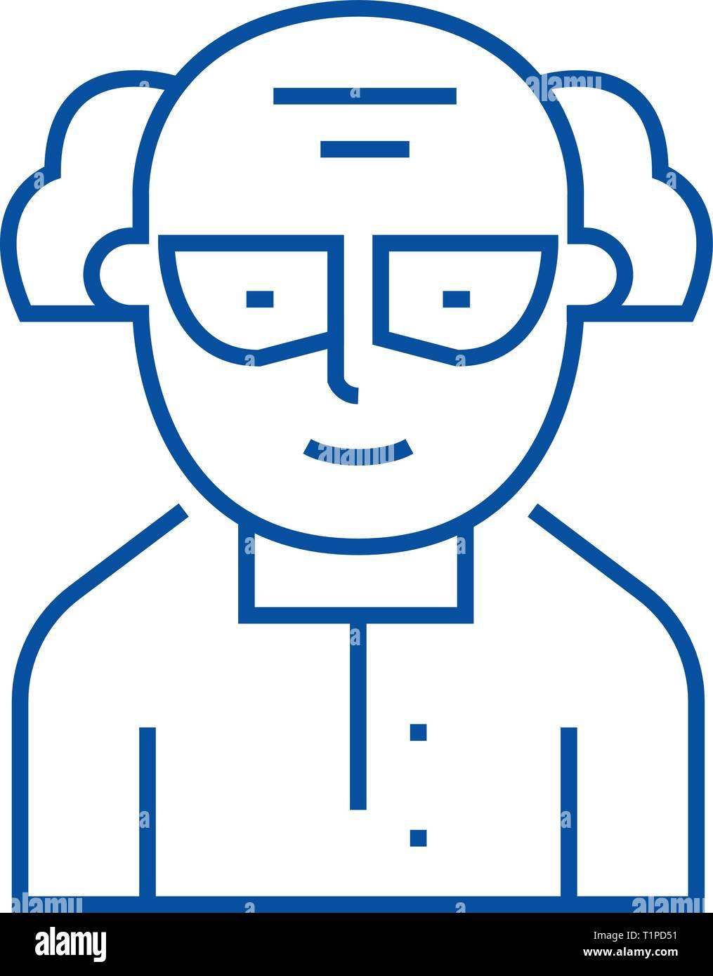Chemist,scientist line icon concept. Chemist,scientist flat  vector symbol, sign, outline illustration. - Stock Vector