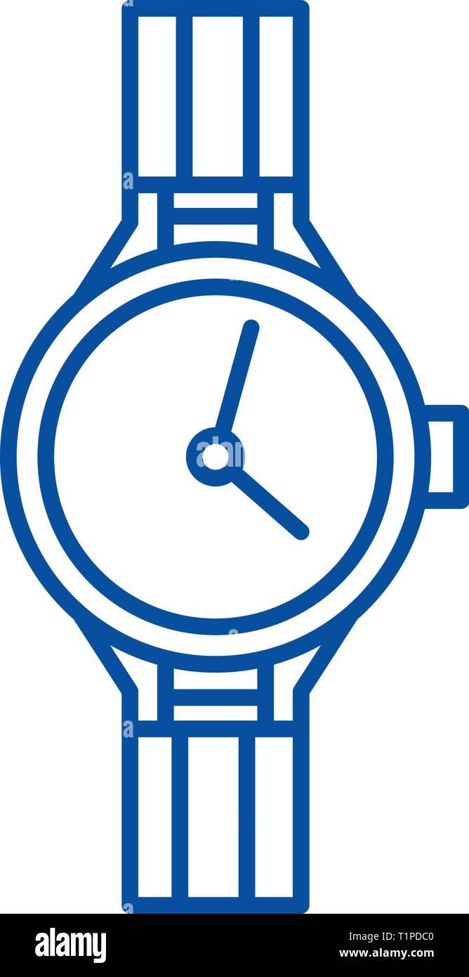 Chronometer line icon concept. Chronometer flat  vector symbol, sign, outline illustration. - Stock Image