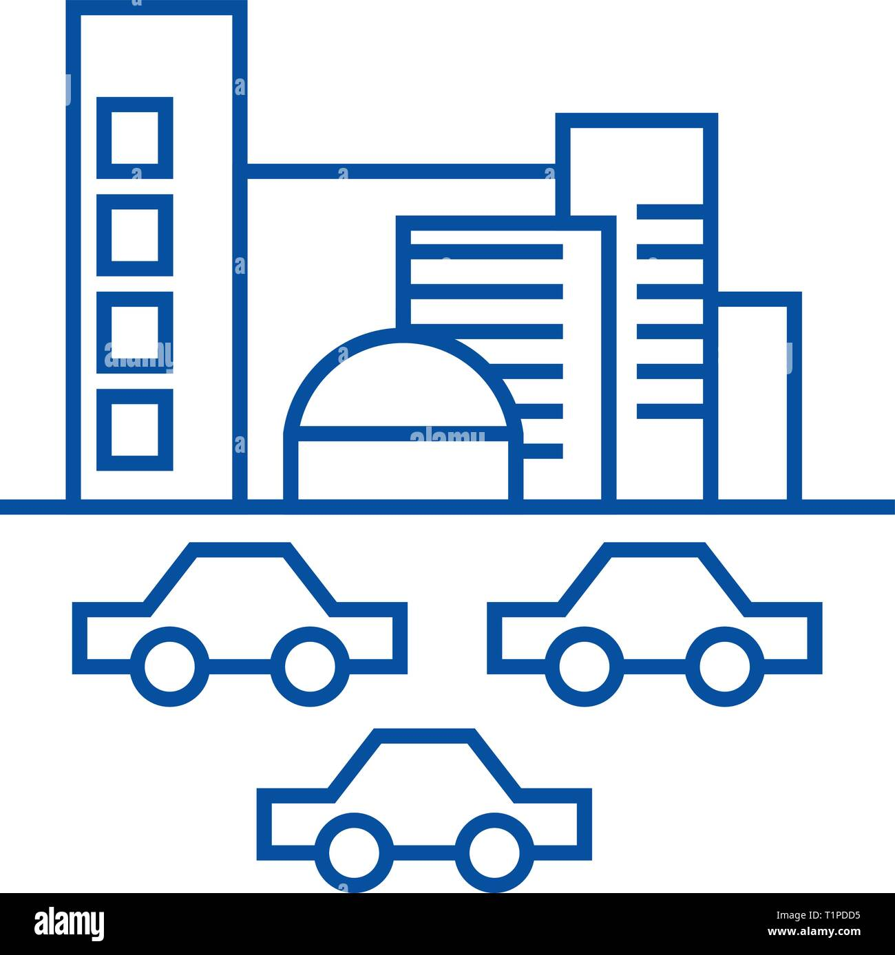 City,traffic, cars line icon concept. City,traffic, cars flat  vector symbol, sign, outline illustration. - Stock Image
