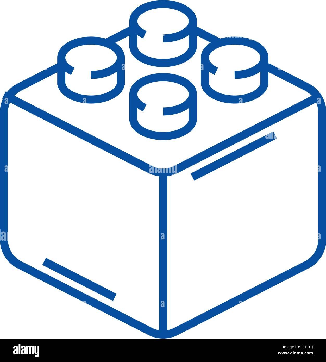 Constructor bricks line icon concept. Constructor bricks flat  vector symbol, sign, outline illustration. Stock Vector