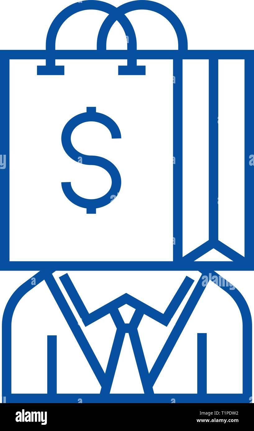 Consumerism line icon concept. Consumerism flat  vector symbol, sign, outline illustration. - Stock Image
