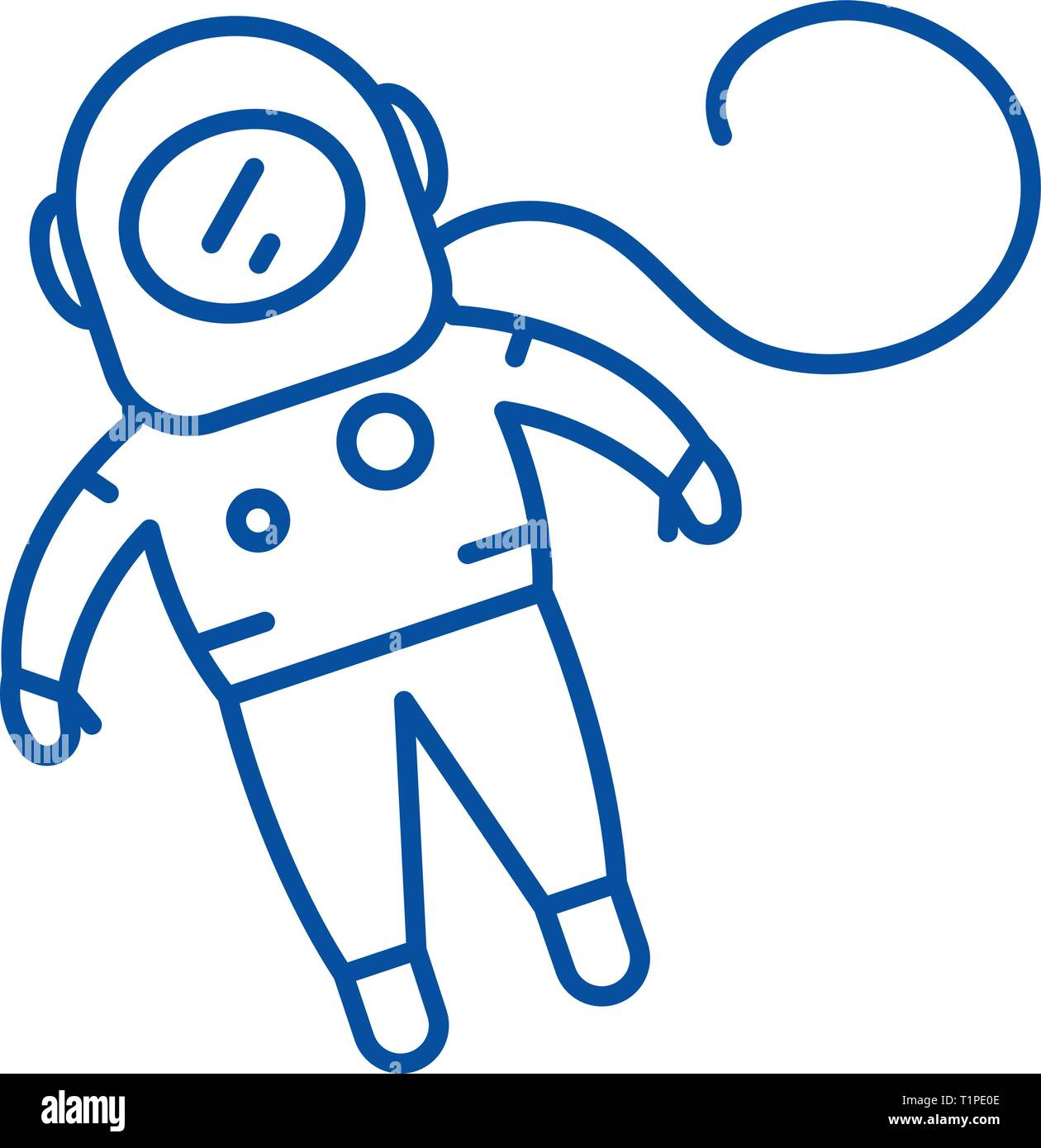 Cosmonaut line icon concept. Cosmonaut flat  vector symbol, sign, outline illustration. - Stock Image