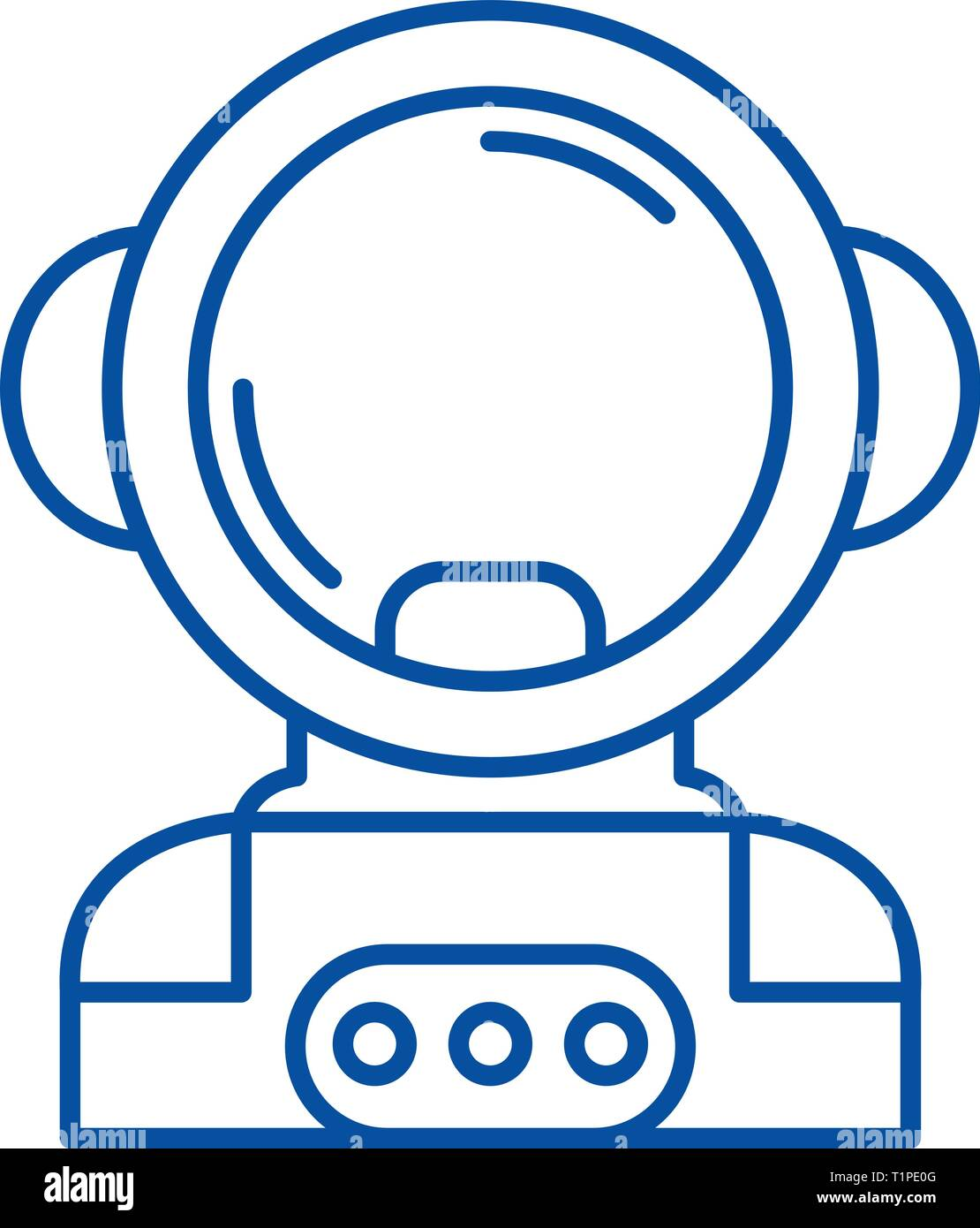 Cosmonaut in space line icon concept. Cosmonaut in space flat  vector symbol, sign, outline illustration. - Stock Image