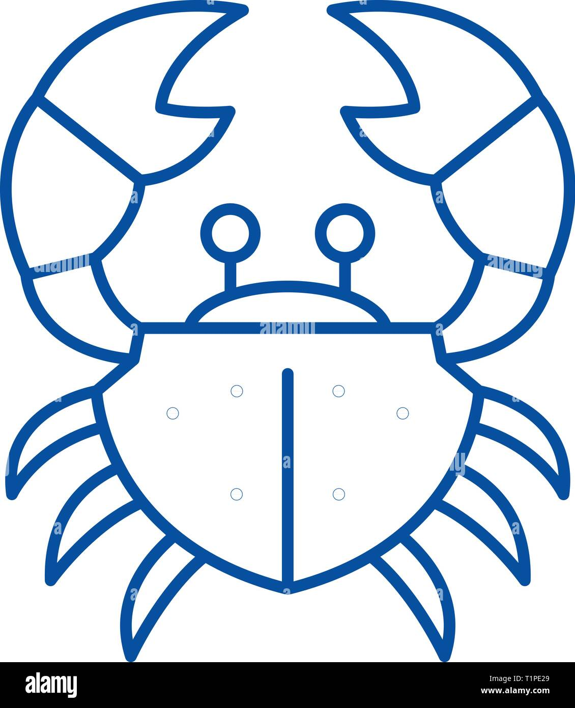 Crab line icon concept. Crab flat  vector symbol, sign, outline illustration. - Stock Image