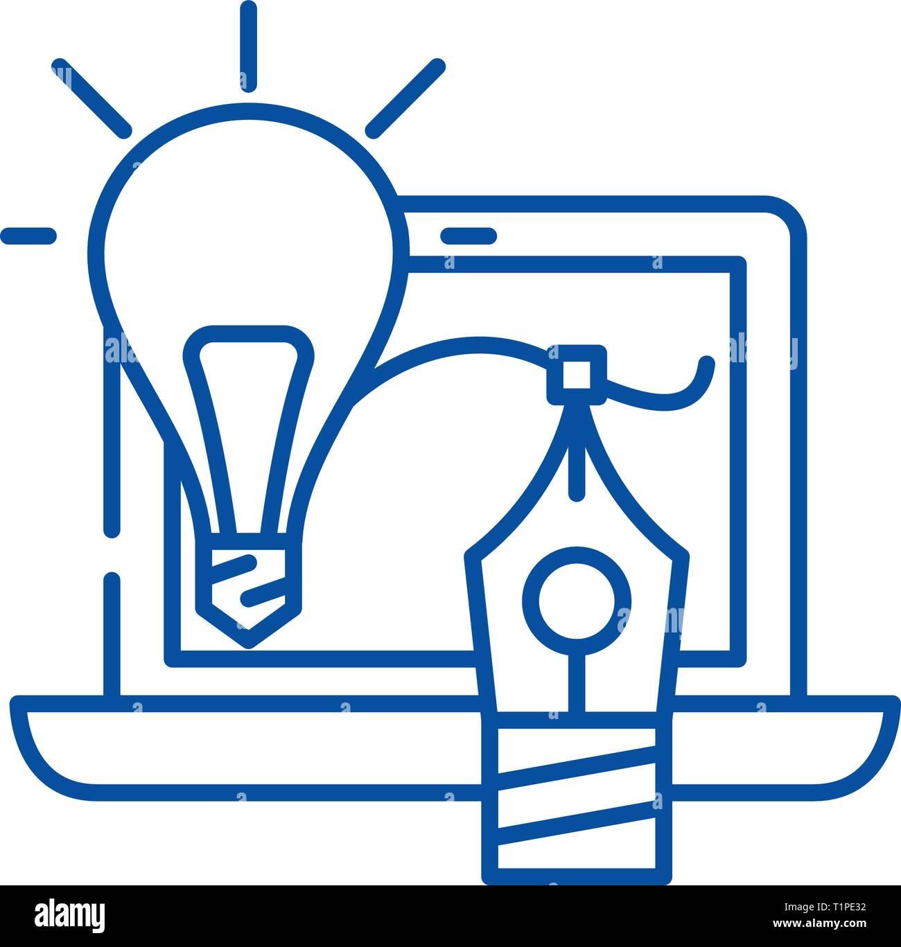 Creativity line icon concept. Creativity flat  vector symbol, sign, outline illustration. - Stock Image