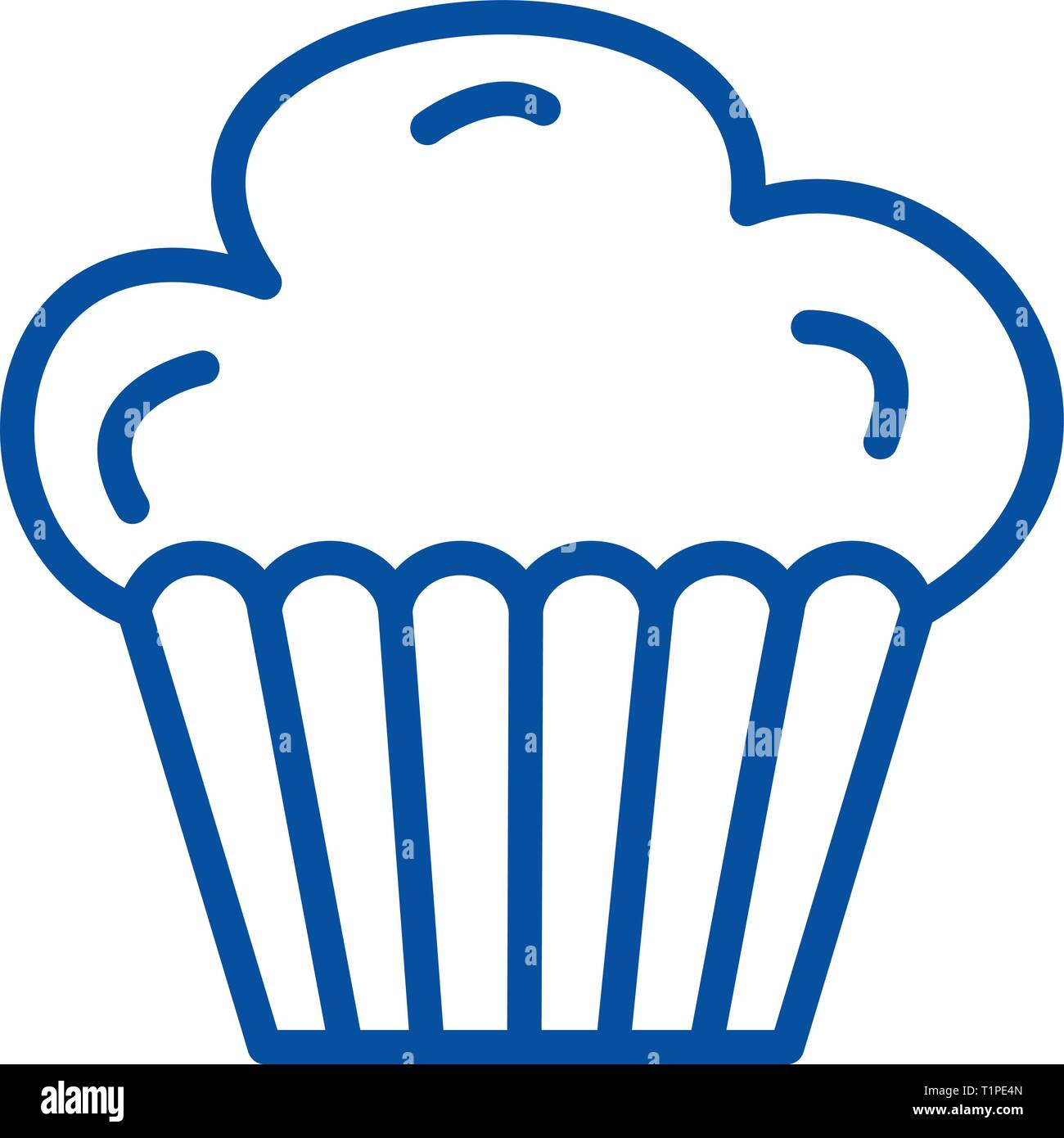 Cupcake Muffin Line Icon Concept Cupcake Muffin Flat