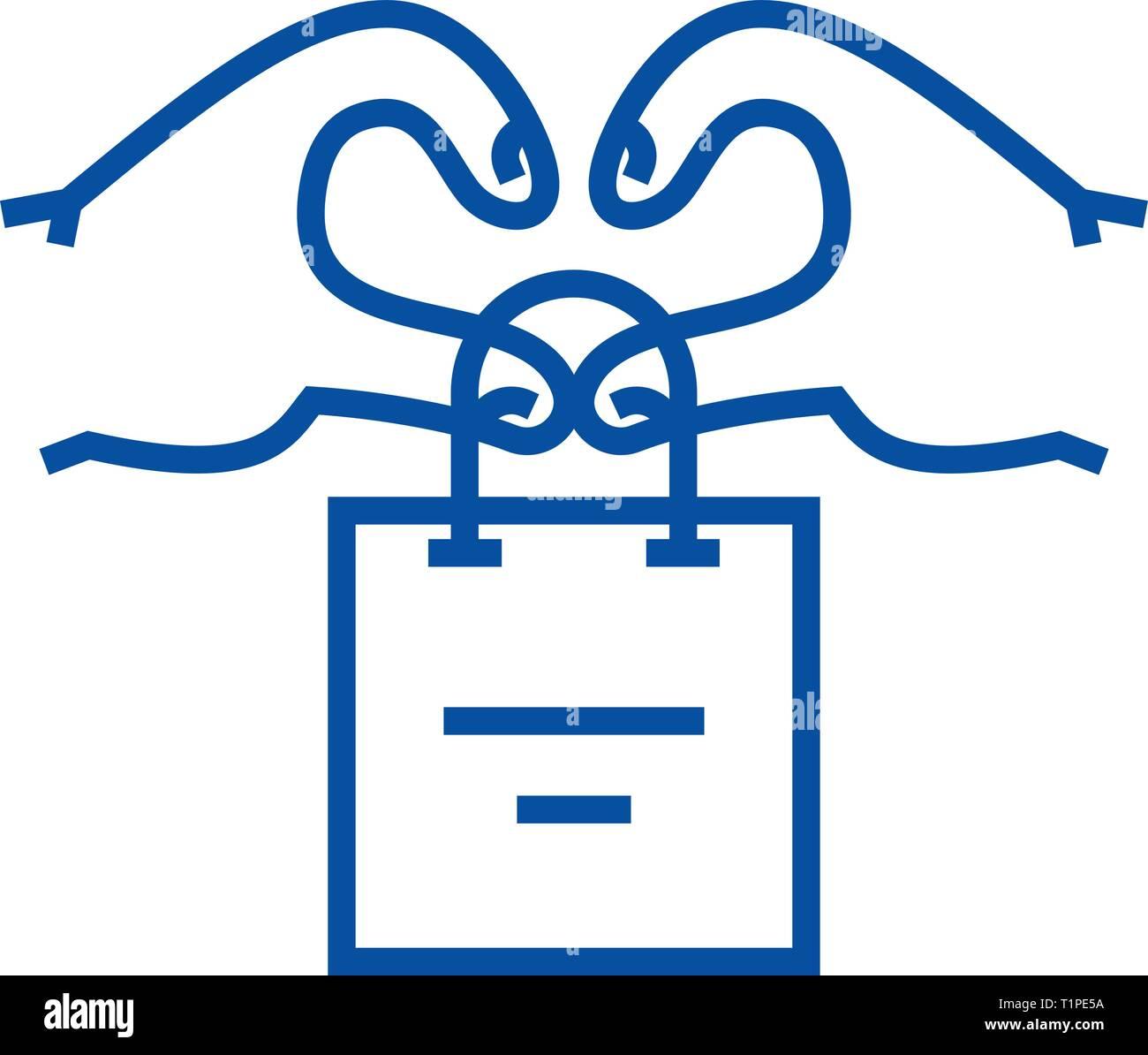 Customer relationship, client marketing line icon concept. Customer relationship, client marketing flat  vector symbol, sign, outline illustration. - Stock Image