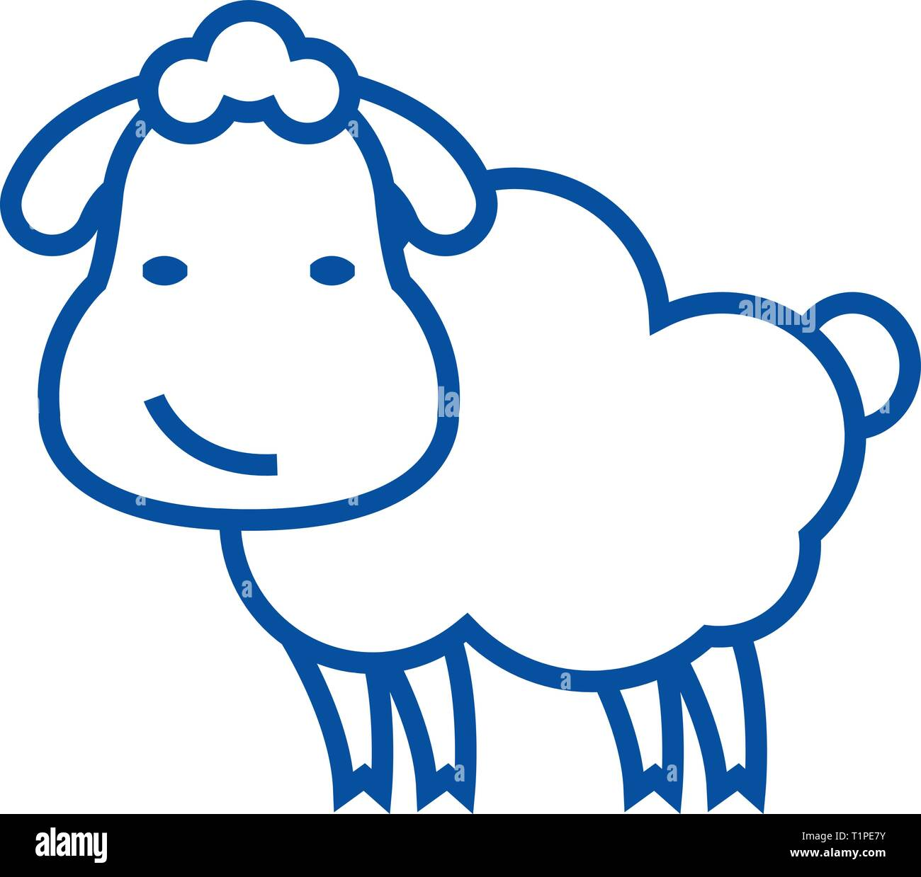 Cute sheep line icon concept. Cute sheep flat  vector symbol, sign, outline illustration. Stock Vector