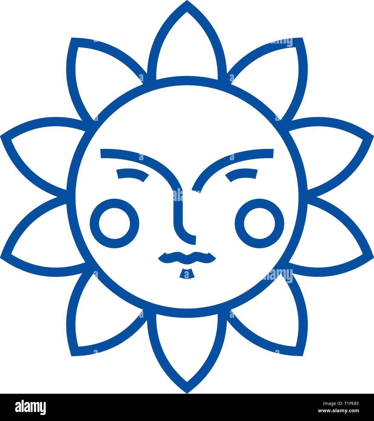 Cute sun line icon concept. Cute sun flat  vector symbol, sign, outline illustration. - Stock Vector