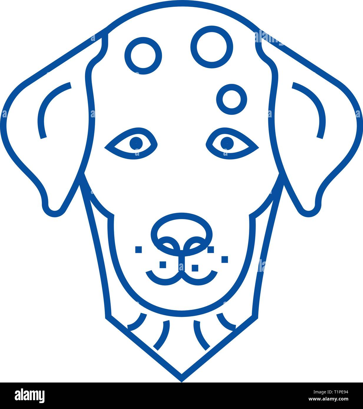 Dalmatian, dog line icon concept. Dalmatian, dog flat  vector symbol, sign, outline illustration. - Stock Vector