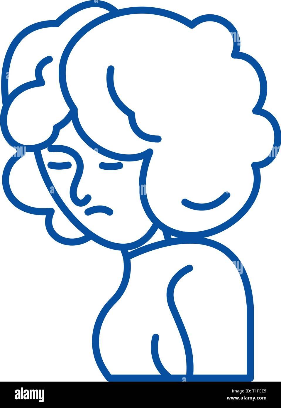 Depression line icon concept. Depression flat  vector symbol, sign, outline illustration. Stock Vector