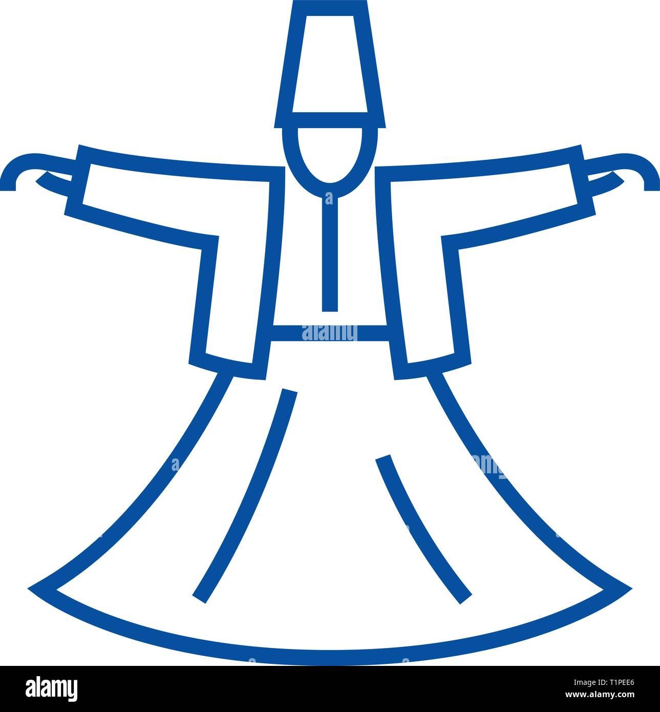 Dervish dance,islam line icon concept. Dervish dance,islam flat  vector symbol, sign, outline illustration. - Stock Image