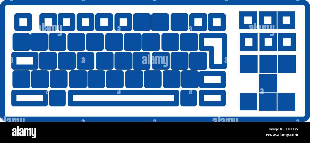 Detailed keyboard line icon concept. Detailed keyboard flat  vector symbol, sign, outline illustration. - Stock Vector