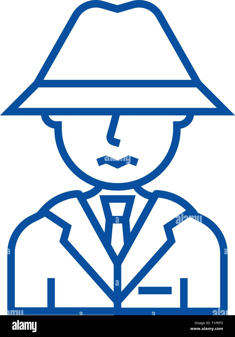 Detective, spy, man with hat line icon concept. Detective, spy, man with hat flat  vector symbol, sign, outline illustration. - Stock Vector