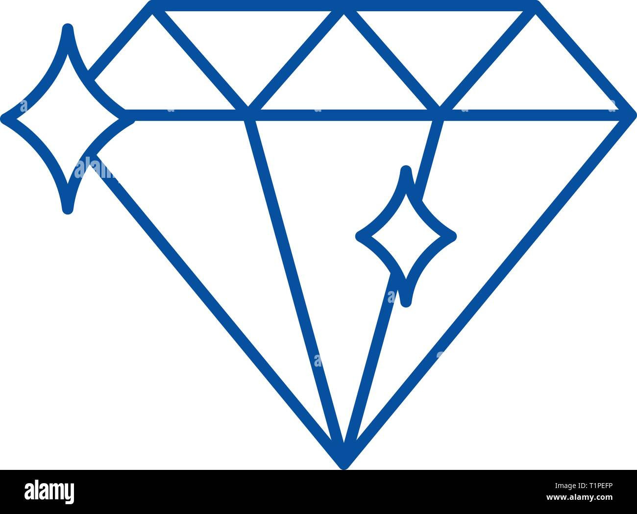 Diamond line icon concept. Diamond flat  vector symbol, sign, outline illustration. - Stock Vector