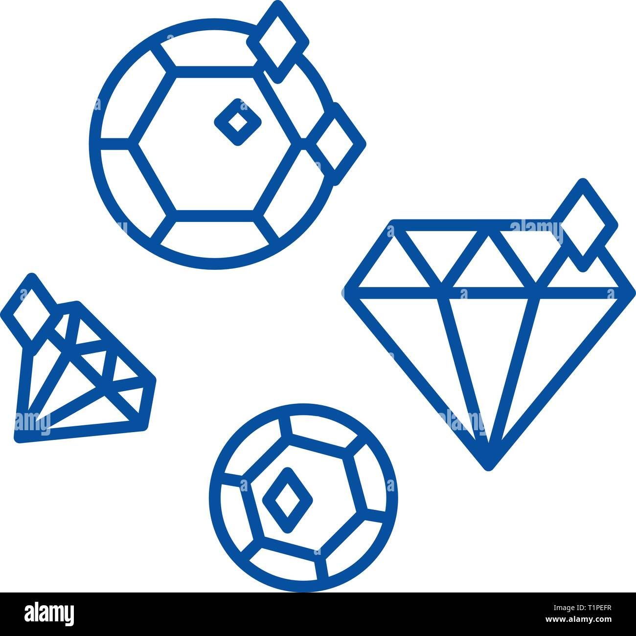 Diamonds line icon concept. Diamonds flat  vector symbol, sign, outline illustration. - Stock Vector