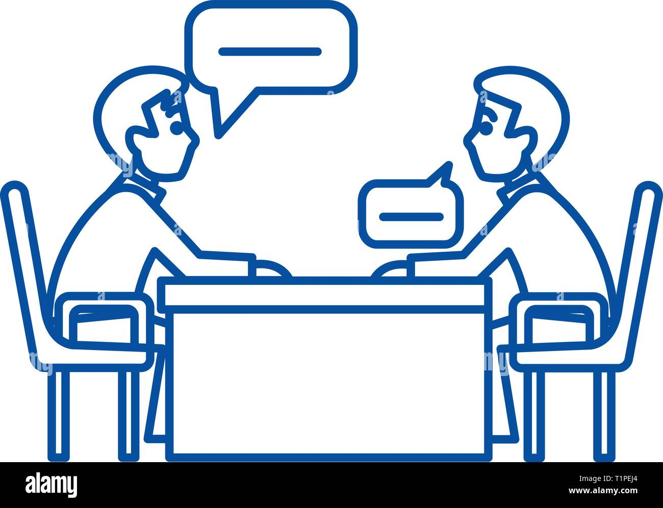 Discussion of two  line icon concept. Discussion of two  flat  vector symbol, sign, outline illustration. Stock Vector