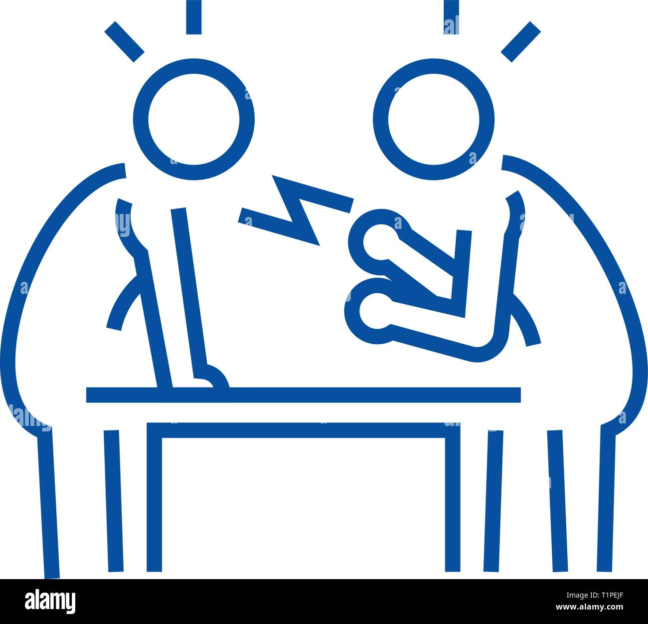 Dispute,debate,conversation line icon concept. Dispute,debate,conversation flat  vector symbol, sign, outline illustration. - Stock Image