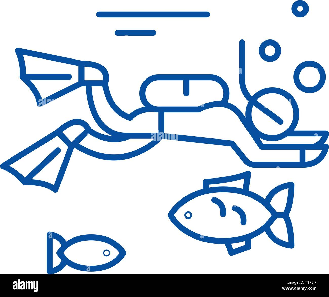 Diving line icon concept. Diving flat  vector symbol, sign, outline illustration. - Stock Vector