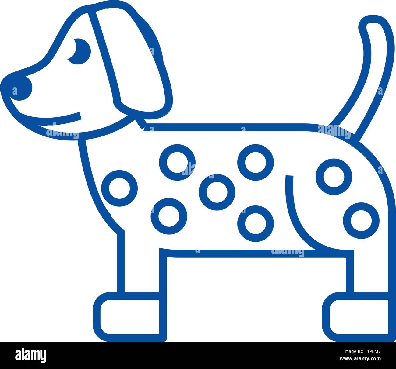 Dog, dalmatian line icon concept. Dog, dalmatian flat  vector symbol, sign, outline illustration. - Stock Vector
