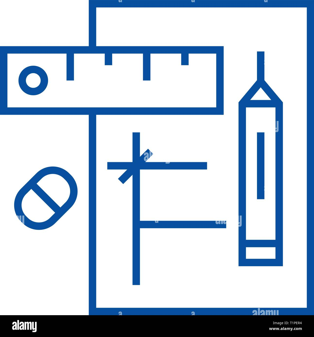 Draft project line icon concept. Draft project flat  vector symbol, sign, outline illustration. - Stock Vector