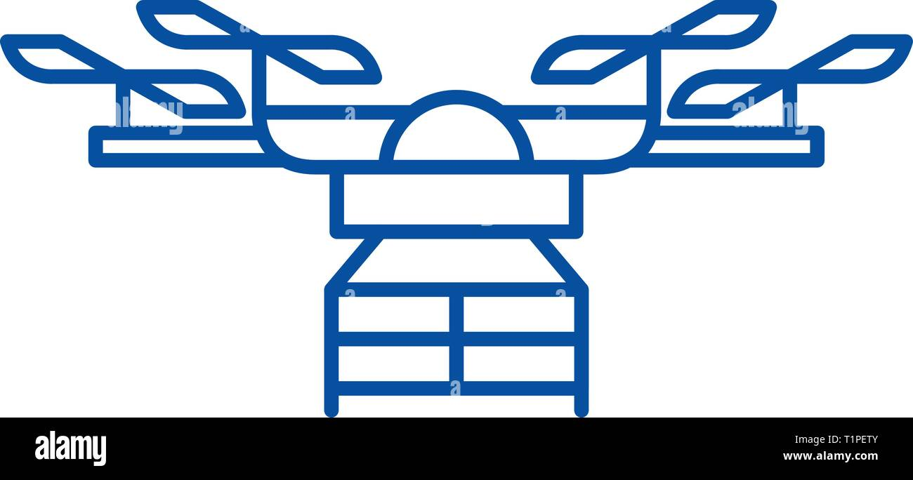 Drone line icon concept. Drone flat  vector symbol, sign, outline illustration. - Stock Vector